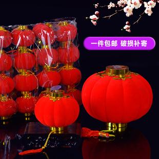 户外植绒小红灯笼挂饰用品室内盆栽商场景布置新年装饰品盆景挂件图片