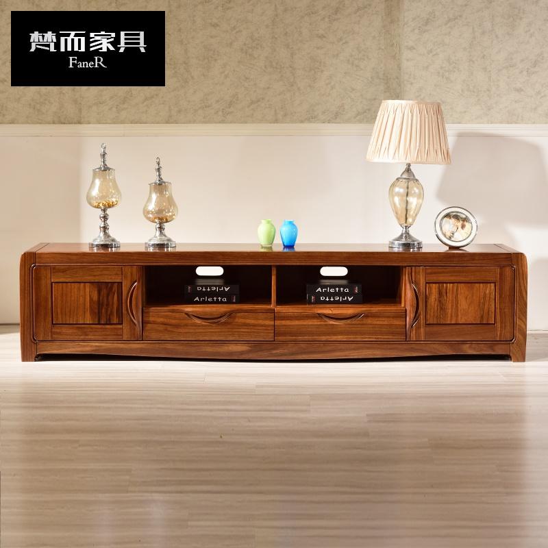 梵而乌金木电视柜全实木现代新中式视听柜1.6米1.8米2米客厅储物