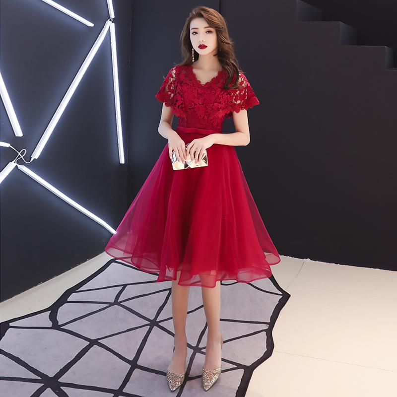 12月01日最新优惠新娘2019新款春夏红色蕾丝敬酒服