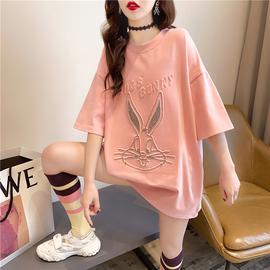 2021新款卡通短袖t恤女韩版宽松夏季洋气中长款百搭上衣大码女装