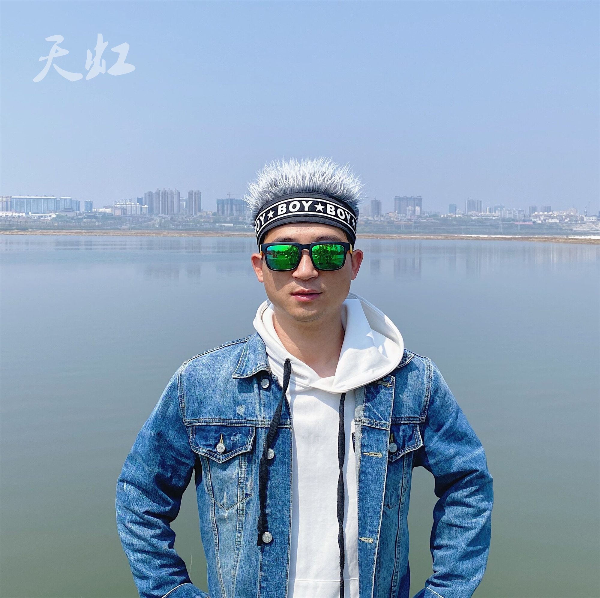 Hat with hair mens hair hat one piece real and fake hair mens hooded hair fashion spring hair binding