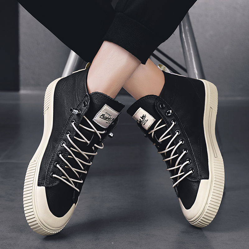 High top ox rib sole shoes mens Korean version of trend increase waist Black Lace free sports leather shoes lazy man