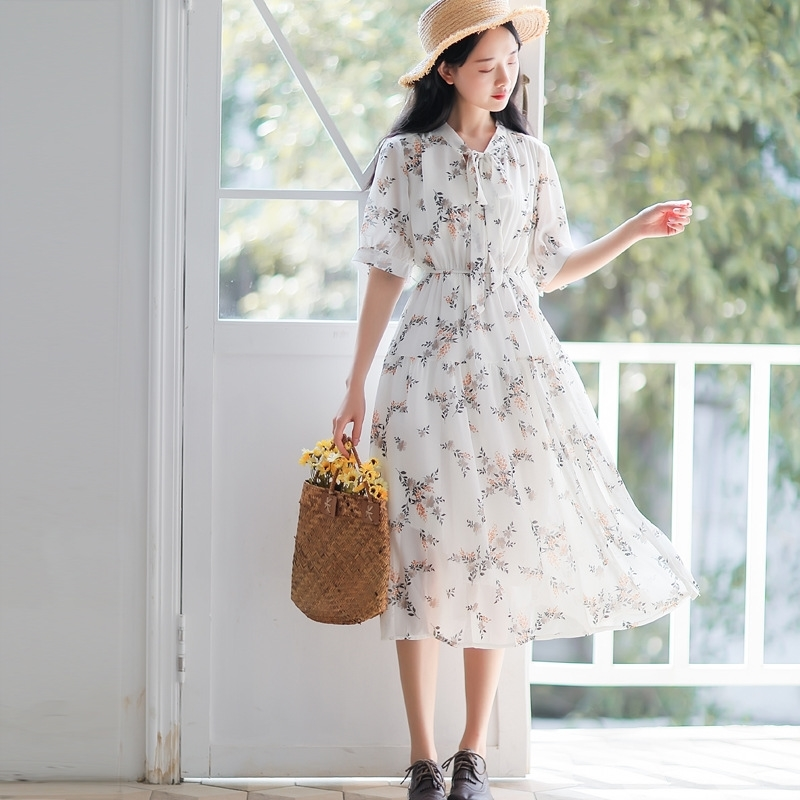 Rouje Floral Chiffon dress collection womens dress 2020 new forest super girl Kikyo skirt