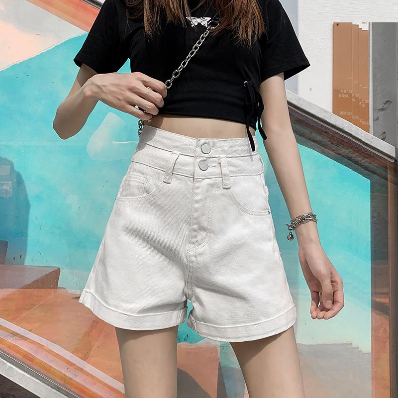 黑色牛仔短裤女2021春夏新款超高腰a字宽松阔腿裤大码显瘦超短裤