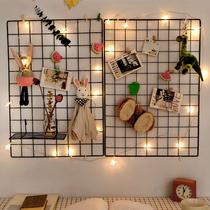 创意墙上网格置物架壁挂式卧室免打孔照片墙铁艺宿舍挂墙装饰挂件
