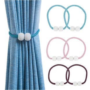 北欧风窗帘绑带一对装 绑绳扣磁铁束带夹挂钩配件创意简约现代新品