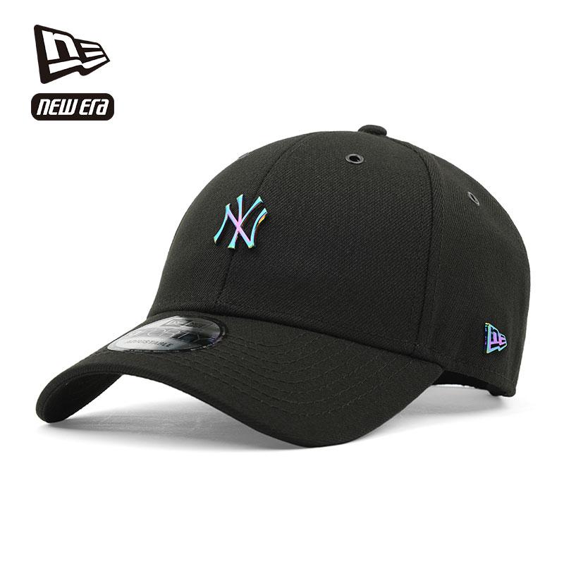NEWERA 帽子男潮酷金屬字母NY/LA彎檐皮質調節帶街舞棒球帽黑