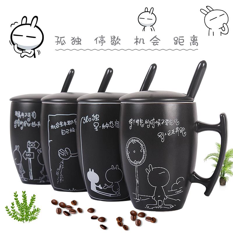 创意陶瓷杯子女学生韩版家用男动漫兔咖啡杯马克杯带盖勺大容量