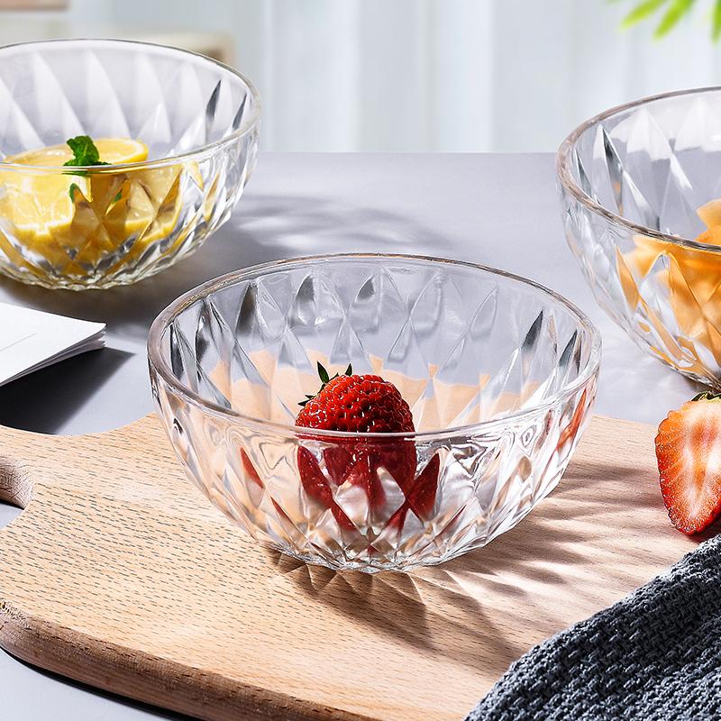 日式透明沙拉碗玻璃碗耐热客厅水果盘家用水果捞碗烧仙草甜品碗