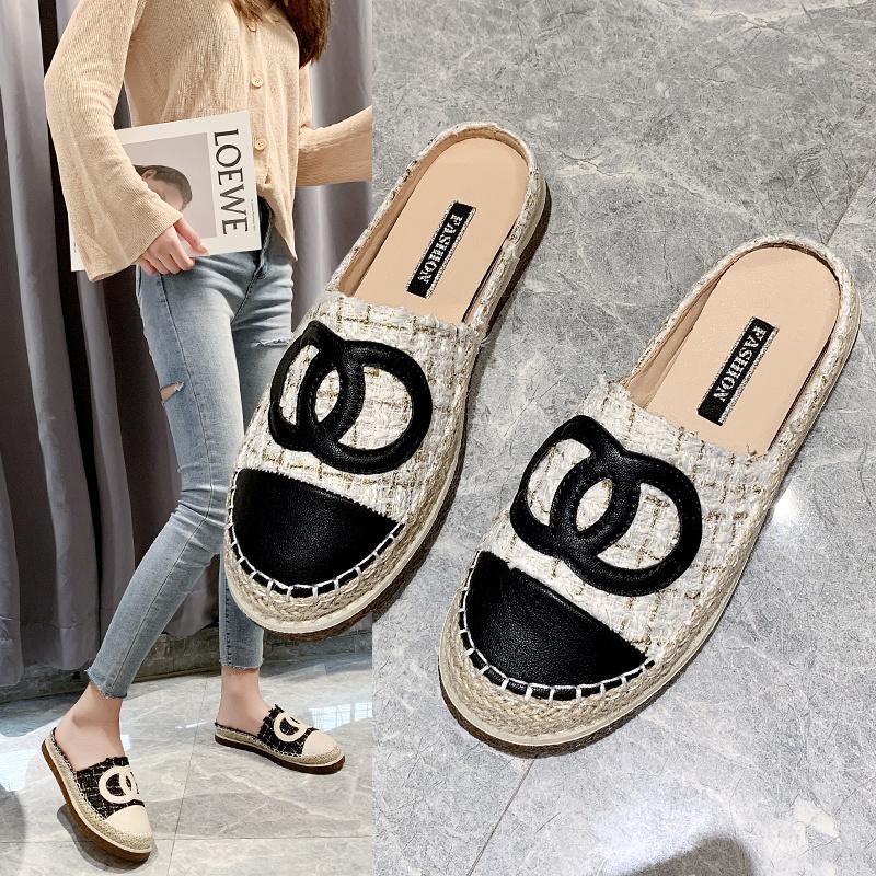 半拖鞋女2020年新款夏季外穿小香风渔夫鞋包头无后跟懒人半托单鞋