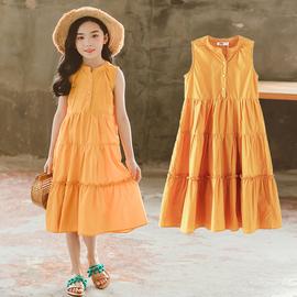 公主裙女童装2020夏季韩版新款中大儿童背心连衣裙衬衫裙洋气长裙