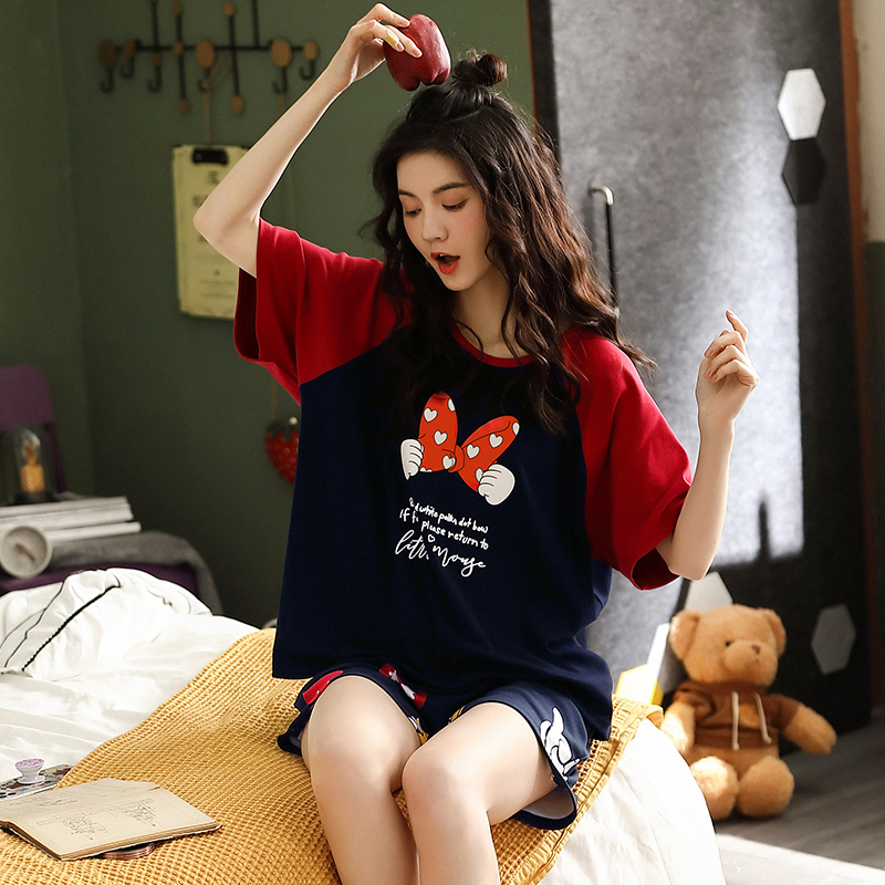 轩鹿睡衣女夏季短袖纯棉可爱套装高级感家居服薄款2021年新款全棉