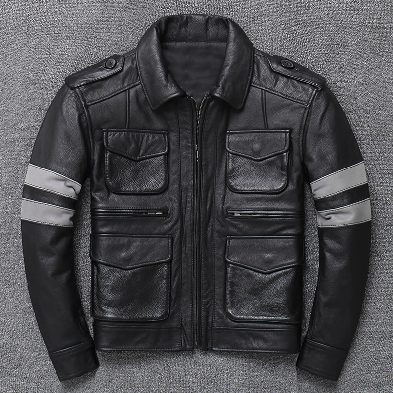 Cowhide leather top leather thick leather jacket motorcycle suit Lapel mens bomber suit
