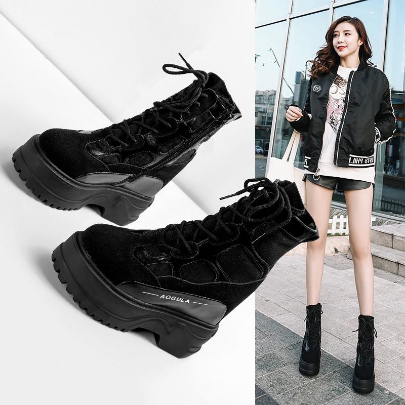 马丁靴女2019秋季新款韩版百搭靴子英伦风短筒短靴厚底内增高女鞋