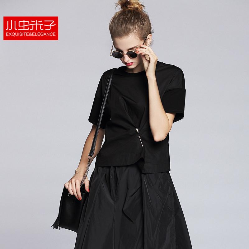 小虫米子2016夏季新款 设计师原创不对称别针纯色短袖廓形T恤B911