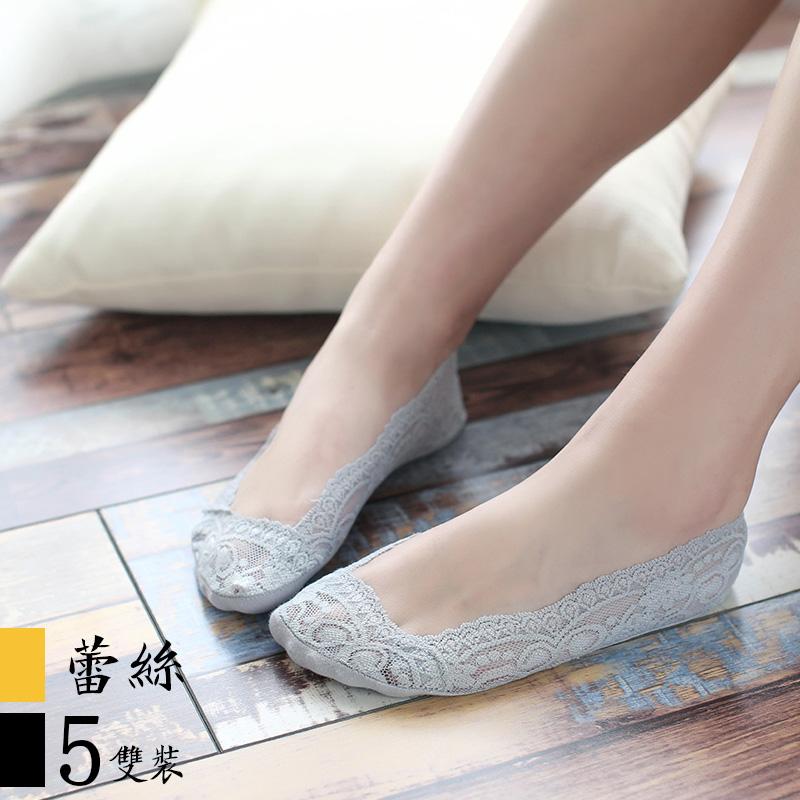蕾丝船袜女2017新款纯棉浅口硅胶防滑隐形不掉跟单鞋袜子秋季花边
