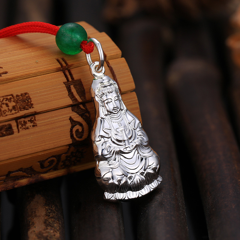 Mengxiang silver S925 silver Guanyin pendant mens silver Bodhisattva Necklace Red Ginseng pendant traditional silver jewelry zz