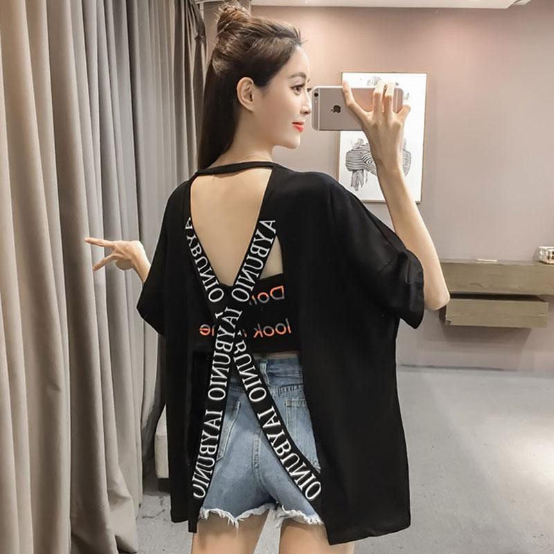 小心机镂空露背t恤女2020夏装新款短袖宽松印花字母韩版百搭上衣