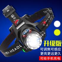 小野人LED頭燈強光充電超亮頭戴式手電筒戶外感應夜釣魚氙氣礦燈