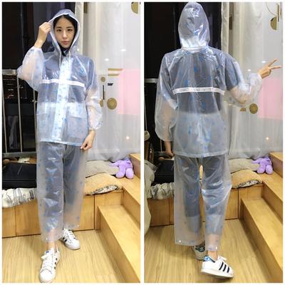 雨衣雨裤套装女分体雨披全身防水衣透明时尚电动电瓶车外卖防暴雨