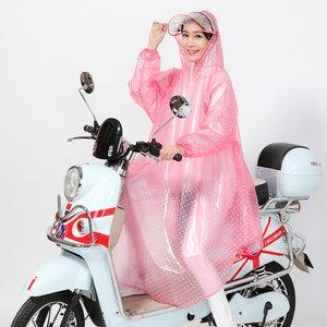 雨衣电瓶车女士单人带袖长款全身防水电动摩托车时尚透明雨披骑行