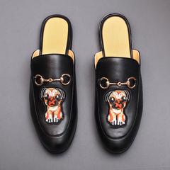 QT1011-5505-P135 夏季男鞋半托小皮鞋个性潮流凉拖包头凉鞋