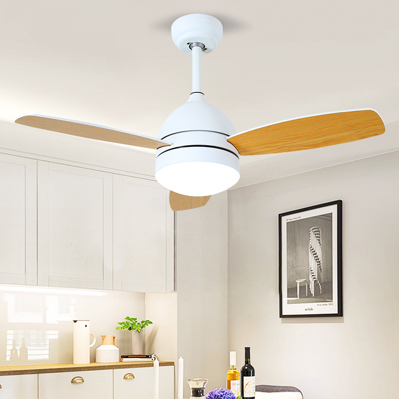 Nordic living room fan chandelier dining room wood makaron lamp bedroom study childrens room solid wood LED fan lamp