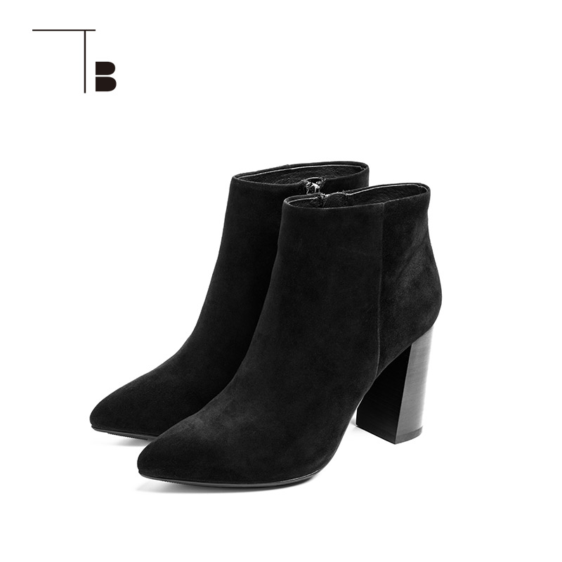 TB / tuobei womens autumn and winter short boots side zipper round head sheepskin thick High Heel Ankle Boots