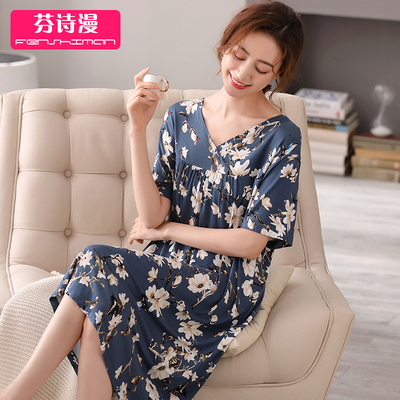 Nightdress women 2021 new summer short-sleeved modal plus size long pregnant women ice silk middle-aged mother pajamas skirt