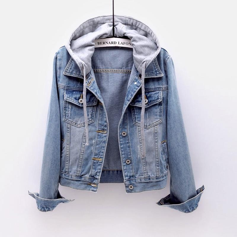 Denim outerwear, womens autumn and winter wear, autumn show thin, hooded, casual jacket, students new short top