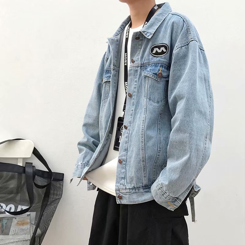 Autumn and winter new Hong Kong Style youth denim jacket mens loose fashion brand European and American street handsome Denim Jacket Top Fashion