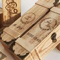 婚礼封酒盒带锁婚庆仪式复古红酒木质包装盒结婚纪念封酒木盒定制