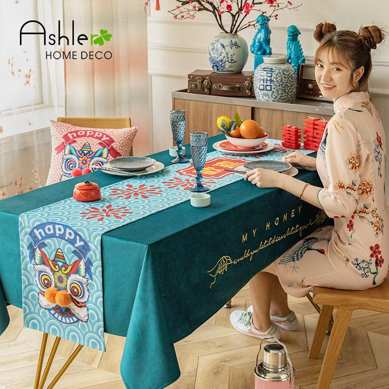 新中式桌旗防水防油免洗北欧ins风布艺桌布餐厅国潮新中国风桌带