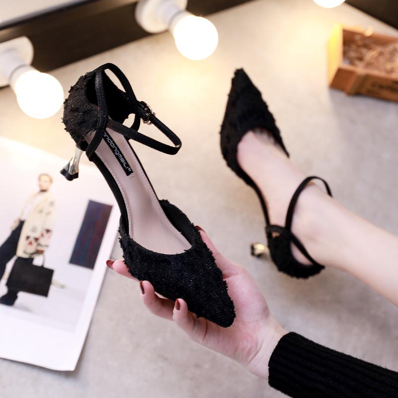 超烫法式少女浅口中空高跟鞋女细跟网红2020春夏新款百搭尖头单鞋
