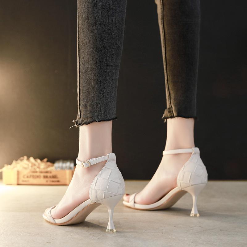 一字带凉鞋女夏季高跟鞋细跟5 cm法式少女百搭2020新款学生十八岁