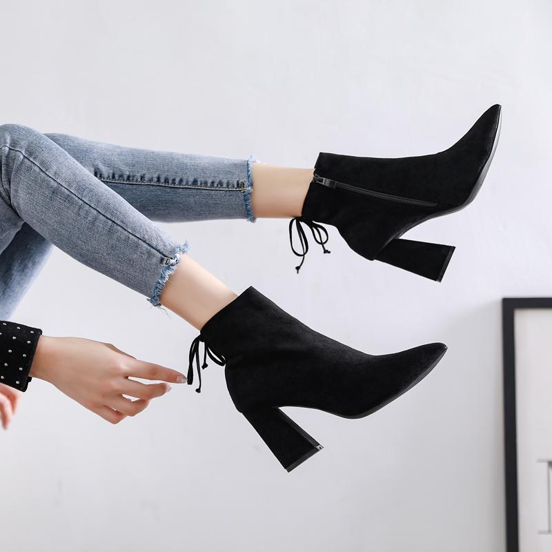 短靴女粗跟高跟鞋马丁靴女秋冬2020新款百搭磨砂瘦瘦裸靴网红加绒