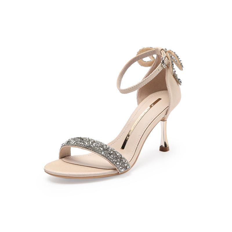 水钻水晶一字带凉鞋蝴蝶结2021新款夏季仙女风气质凉鞋细跟高跟鞋