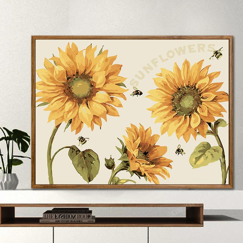diy数字油画客厅餐厅花卉简单填色手工绘装饰画油彩画 阳光向日葵图片