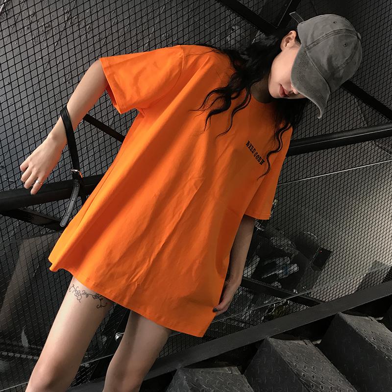 (用79.1元券)原宿风宽松BF中长款下体失踪橘色短袖T恤INS超火学生字母上衣女夏