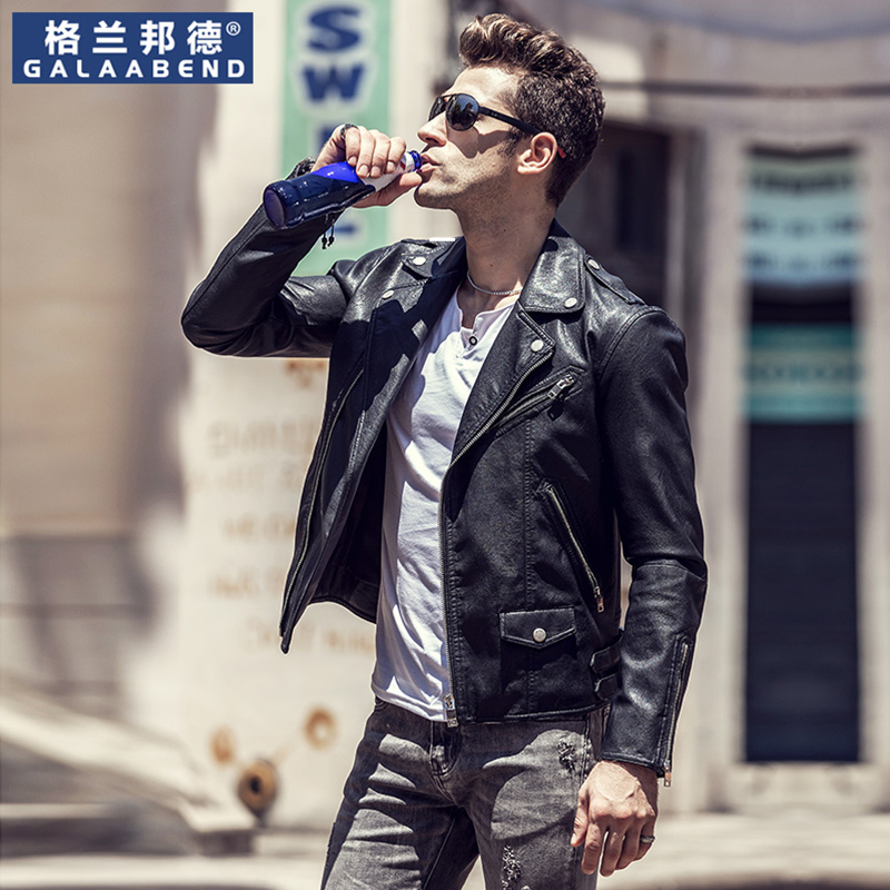 Motorcycle leather men's early spring Korean version of the trend of self-cultivation spring 2021 new PU leather jacket men's jacket