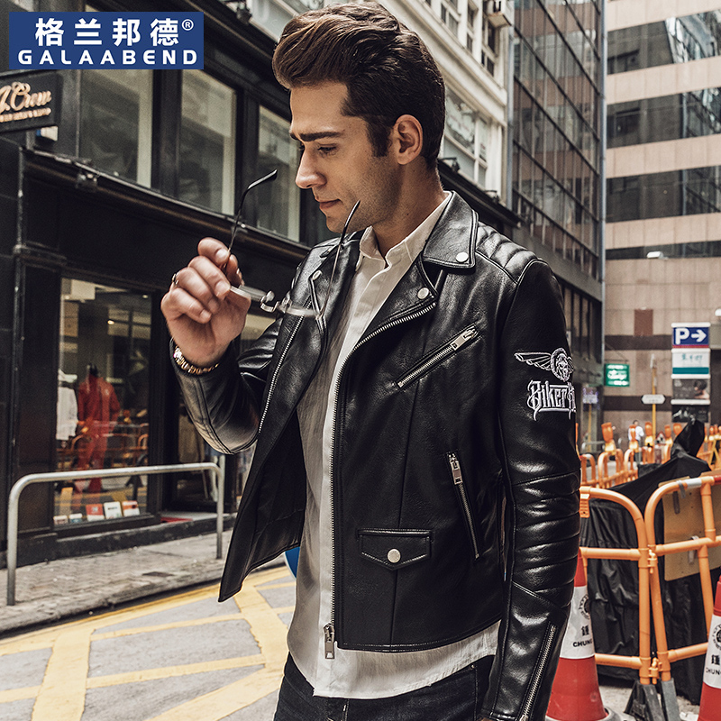 Locomotive leather tide 2021 spring European and American parques short slim lapel leather jacket men's locomotive clothing coat