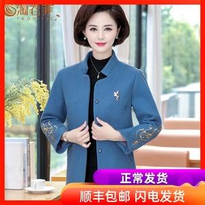 中老年女装秋冬毛呢外套短款40岁50中年妇女妈妈春装洋气呢子上衣