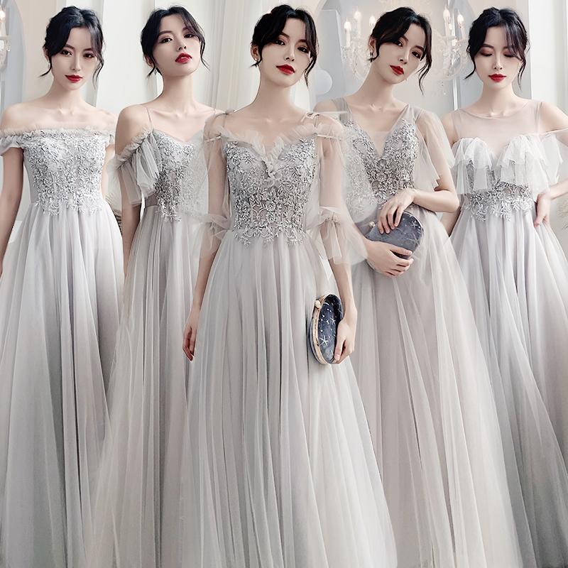 长款伴娘服2019新款冬季姐妹裙仙气