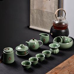 澜扬功夫茶具套装家用整套哥窑茶道可养可开片汝瓷茶壶茶杯茶海