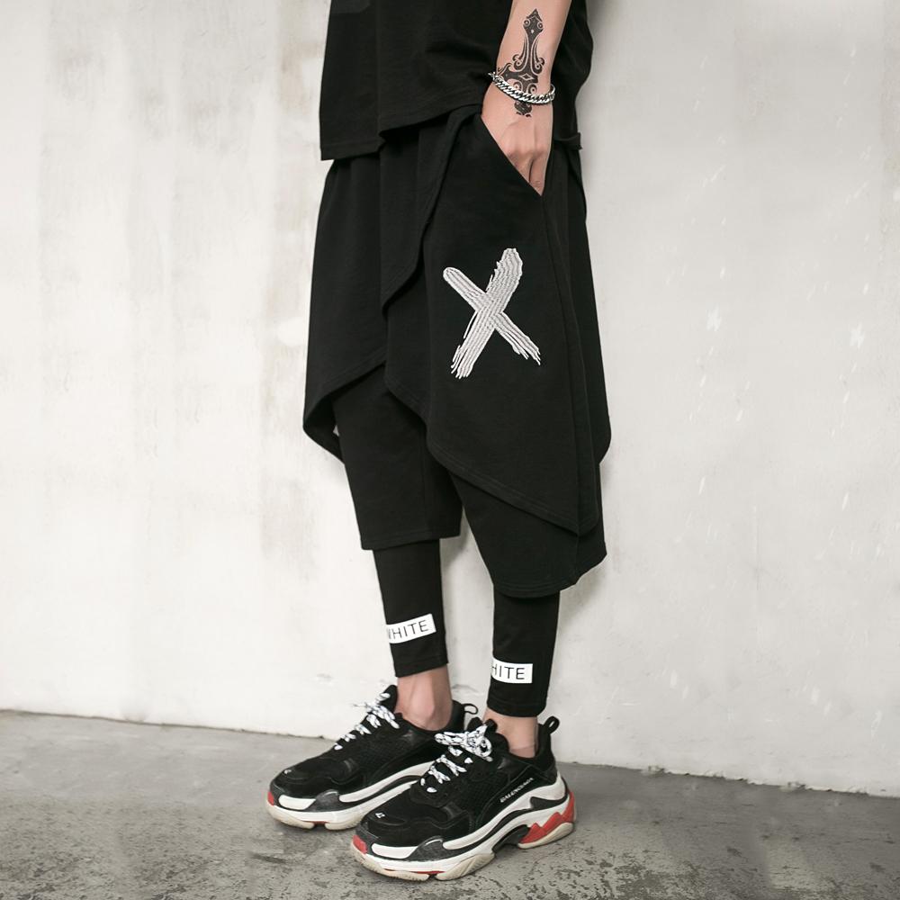 Shorts mens summer trend loose hip hop large fake two piece hip hop thin hairdresser wide leg Harun Capris