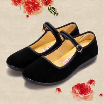 老北京女黑色工作鞋平底舒适布鞋