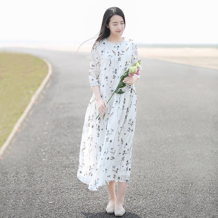 初蝉原创设计女装棉麻中式中国风印花苎麻复古大摆皱褶宽松连衣裙