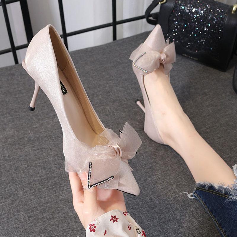 尖头高跟鞋女2019新款百搭网红法式少女细跟性感蝴蝶结仙女风单鞋