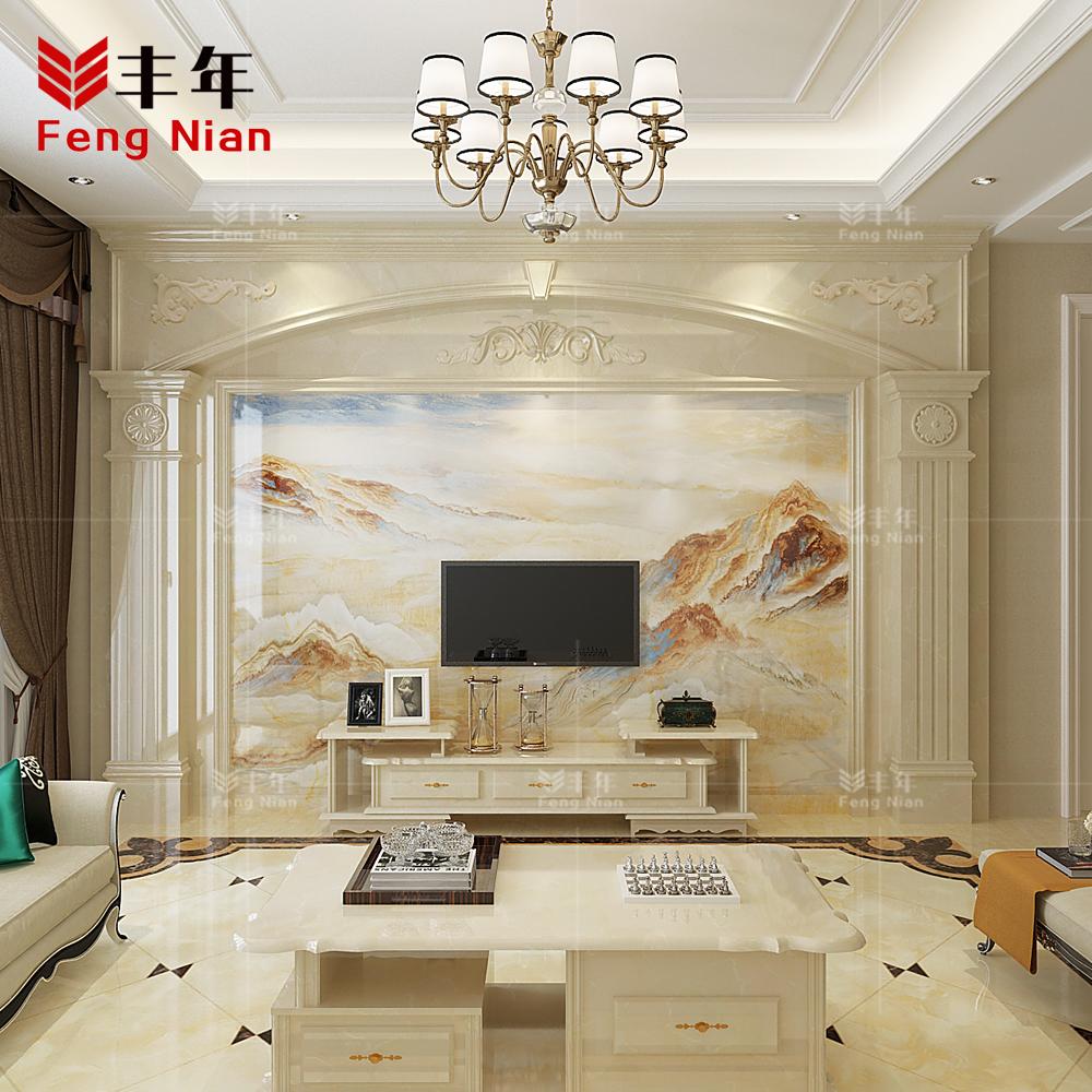 电视背景墙瓷砖欧式简约现代3d微晶石客厅影视墙大理石罗马柱云海10月10日最新优惠