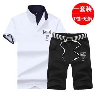運動套裝男士夏季休閑短袖T恤韓版潮流衣服2020新款網紅痞帥夏裝